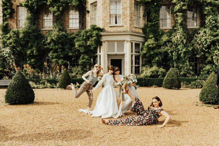 Bride in Emma Beaumont Wedding Dress and Best Girls