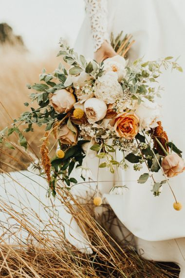 Natural Peach, Pink, White and Green Wedding Bouquet with Roses and Peonies