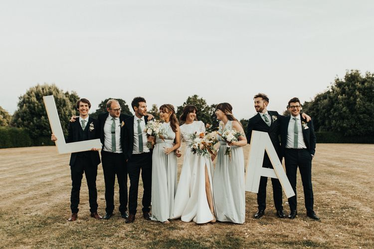 Wedding Party Portrait Holding Giant Initials