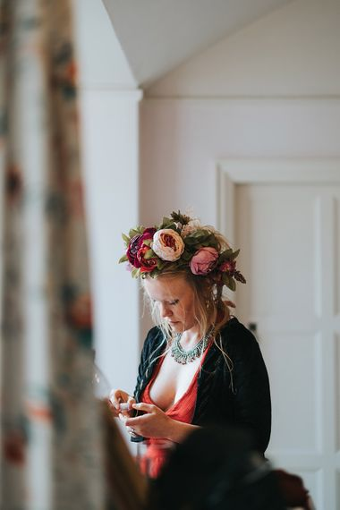 Bridesmaid with Flower Crown | Outdoor Woodland Wedding at Wiveton Hall, Norfolk with Folk Festival Vibes | Miss Gen Photography