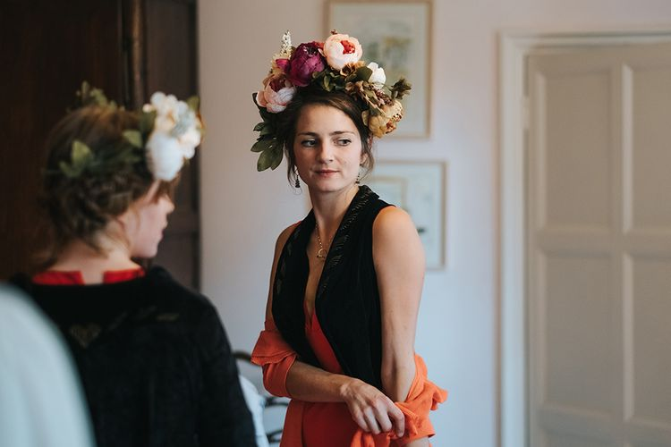 Bridesmaid in Flower Crown | Outdoor Woodland Wedding at Wiveton Hall, Norfolk with Folk Festival Vibes | Miss Gen Photography