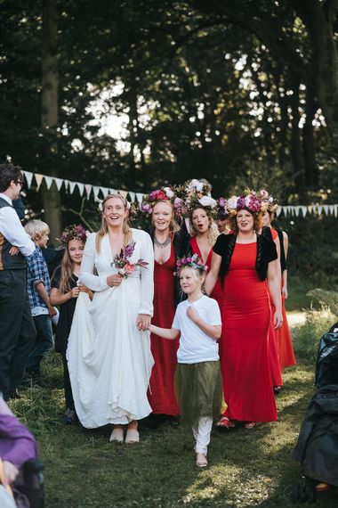 Bridal Party | Bride in Reformation Gown | Bridesmaids in Red Dresses & Flower Crowns | Outdoor Woodland Wedding at Wiveton Hall, Norfolk with Folk Festival Vibes | Miss Gen Photography