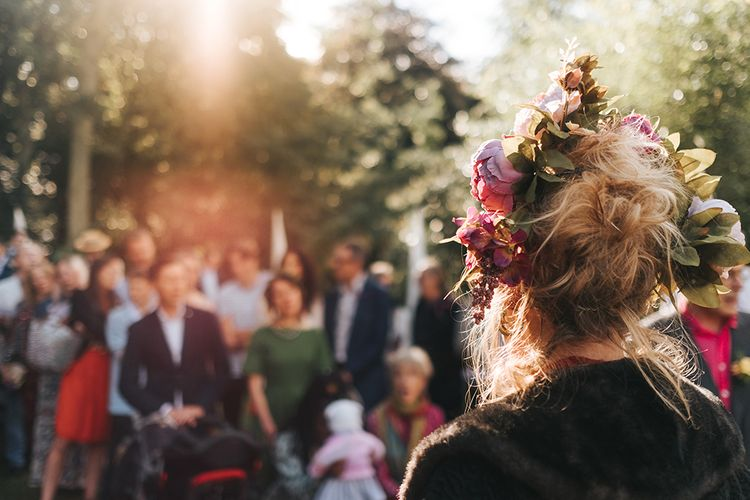 Flower Crown | Outdoor Woodland Wedding at Wiveton Hall, Norfolk with Folk Festival Vibes | Miss Gen Photography