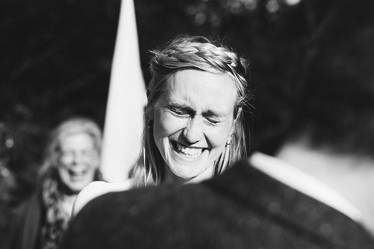 Wedding Ceremony | Bride in Reformation Gown | Outdoor Woodland Wedding at Wiveton Hall, Norfolk with Folk Festival Vibes | Miss Gen Photography