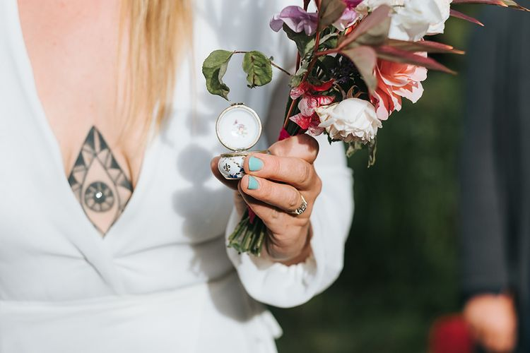 Something Blue Nail Polish | Bride in Reformation Gown | Outdoor Woodland Wedding at Wiveton Hall, Norfolk with Folk Festival Vibes | Miss Gen Photography