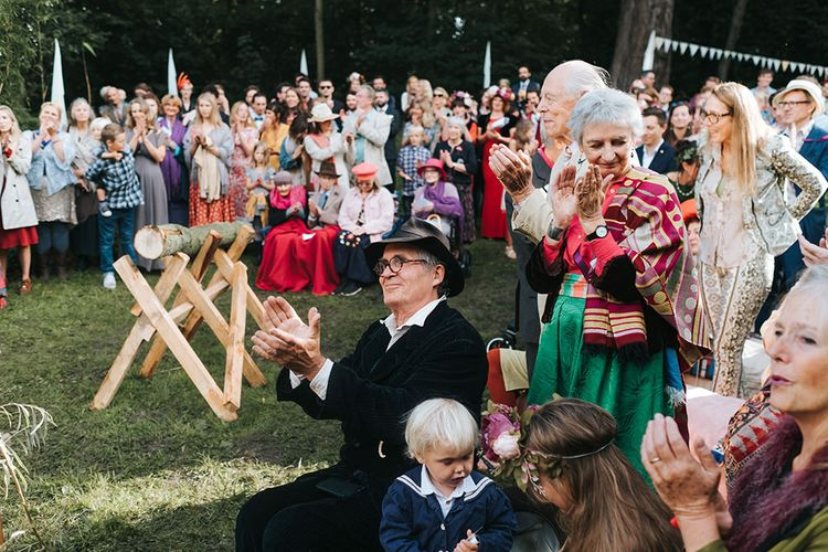 Wedding Ceremony | Outdoor Woodland Wedding at Wiveton Hall, Norfolk with Folk Festival Vibes | Miss Gen Photography
