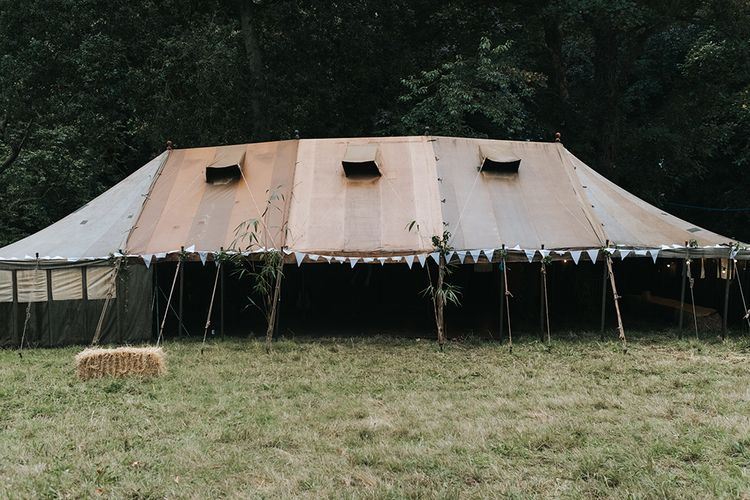 Marquee Wedding Reception | Outdoor Woodland Wedding at Wiveton Hall, Norfolk with Folk Festival Vibes | Miss Gen Photography