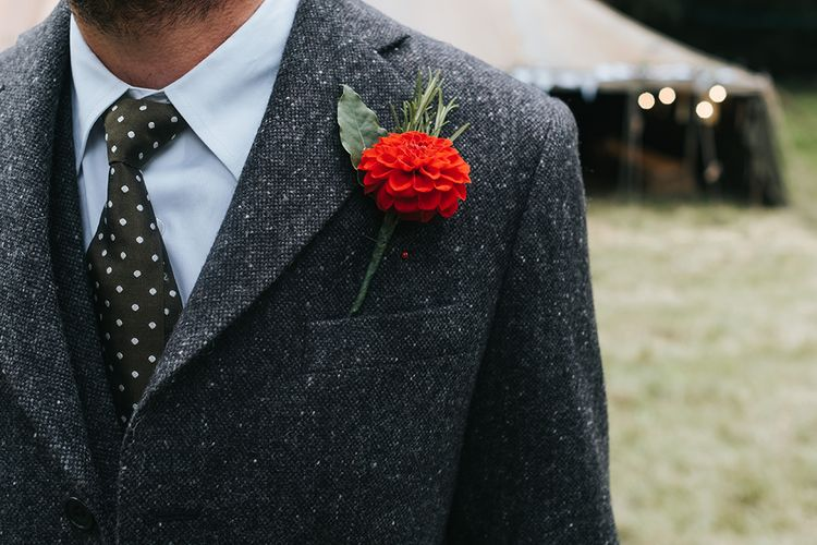 Red Dahlia Buttonhole | Outdoor Woodland Wedding at Wiveton Hall, Norfolk with Folk Festival Vibes | Miss Gen Photography