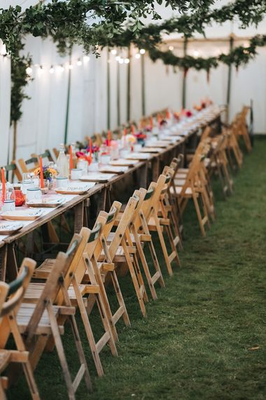 Trestle Table Decor | Outdoor Woodland Wedding at Wiveton Hall, Norfolk with Folk Festival Vibes | Miss Gen Photography