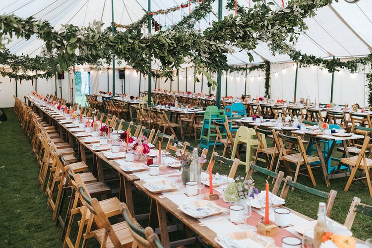 Marquee Wedding Reception Decor | Outdoor Woodland Wedding at Wiveton Hall, Norfolk with Folk Festival Vibes | Miss Gen Photography