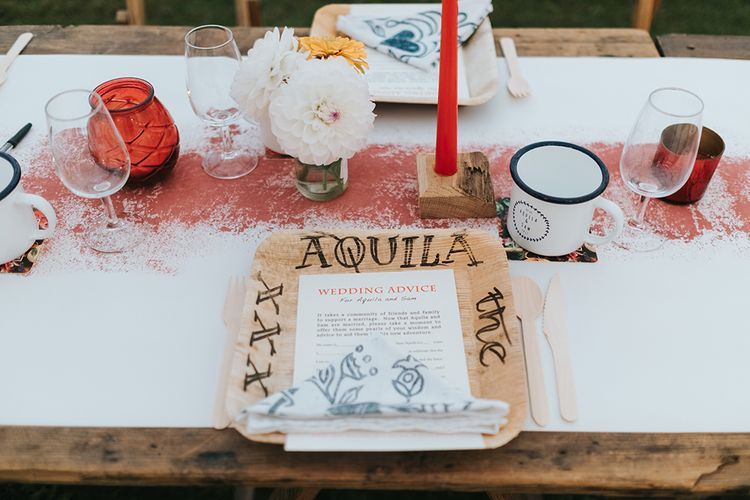 Place Setting | Outdoor Woodland Wedding at Wiveton Hall, Norfolk with Folk Festival Vibes | Miss Gen Photography