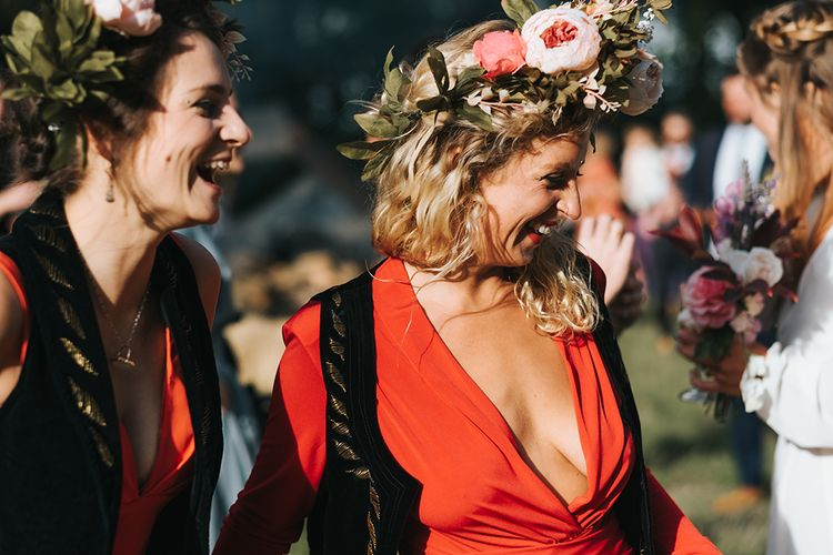 Bridesmaid in Red Dress & Flower Crown | Outdoor Woodland Wedding at Wiveton Hall, Norfolk with Folk Festival Vibes | Miss Gen Photography