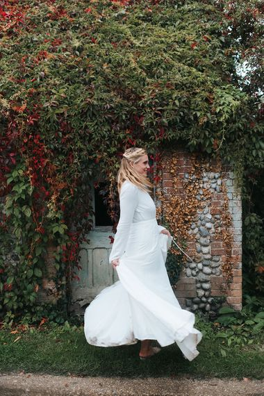 Bride in Reformation Dress | Outdoor Woodland Wedding at Wiveton Hall, Norfolk with Folk Festival Vibes | Miss Gen Photography