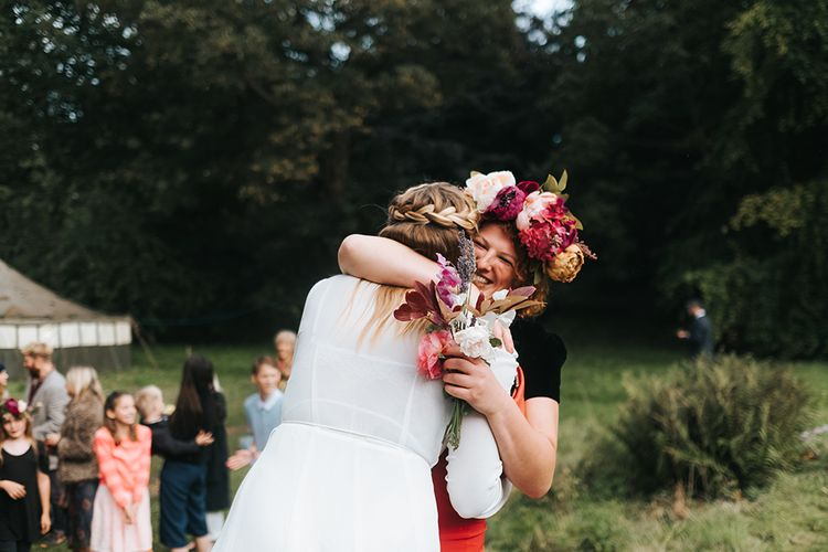 Hugs | Outdoor Woodland Wedding at Wiveton Hall, Norfolk with Folk Festival Vibes | Miss Gen Photography