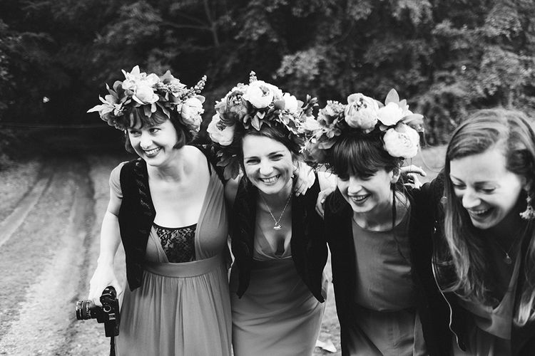 Bridesmaids in Flower Crowns | Outdoor Woodland Wedding at Wiveton Hall, Norfolk with Folk Festival Vibes | Miss Gen Photography