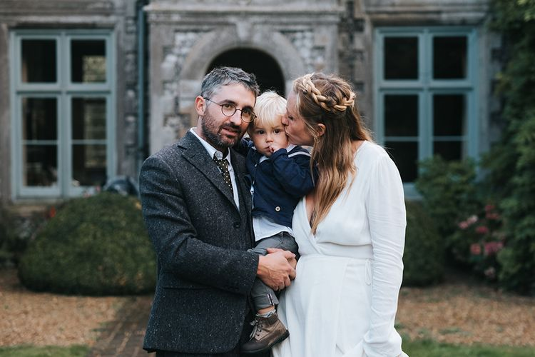 Family Portrait | Bride in Reformation Gown | Groom In Tweed Suit | Outdoor Woodland Wedding at Wiveton Hall, Norfolk with Folk Festival Vibes | Miss Gen Photography