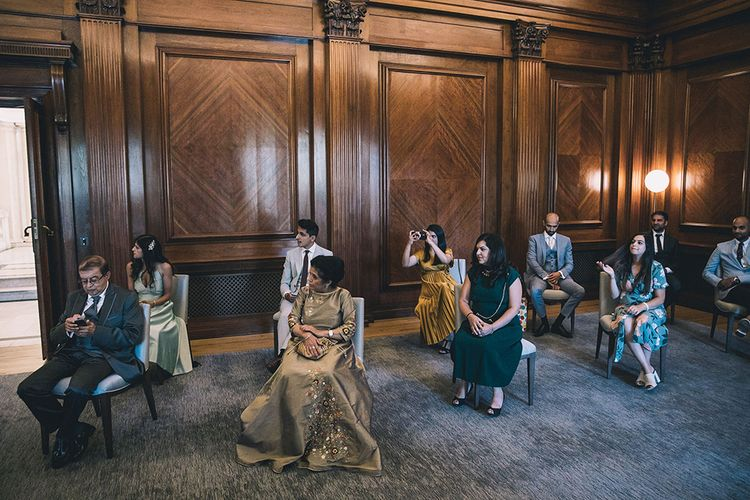 Socially distanced wedding guests at July 2020 wedding