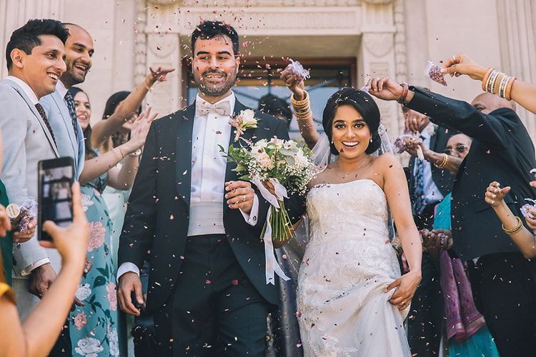 Confetti moment at Old Marylebone Town Hall at July 2020 wedding