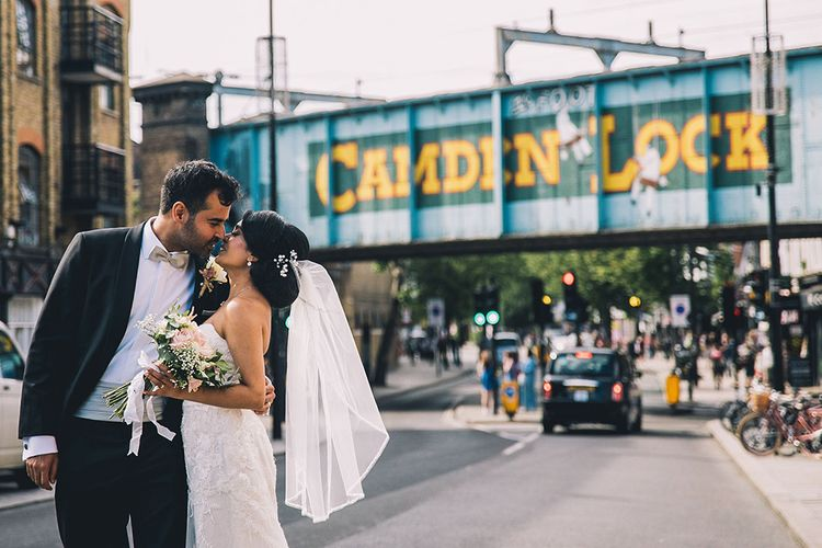 Bride and groom kissing in Camden Town at  July 2020 wedding