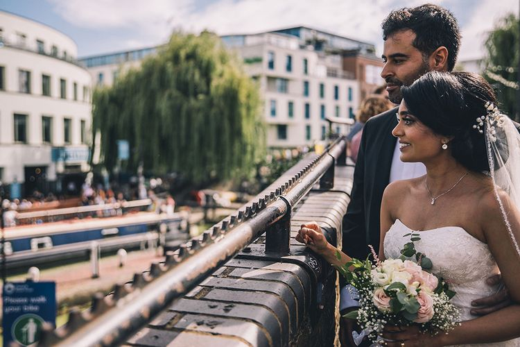 Bride and groom portrait by Story + Colour Photography