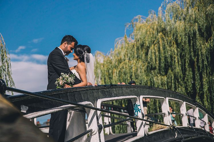Bride and groom portrait on a bridge in Camden Town at July 2020 wedding