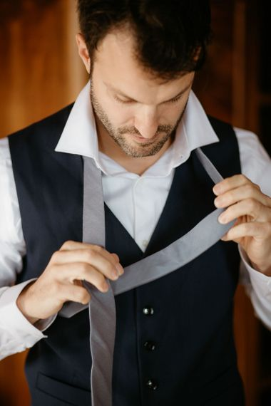 Groom preparations for Italian wedding