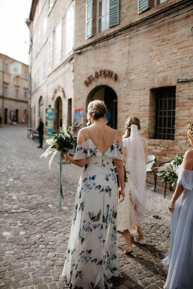 Floral bridesmaid dress with undo
