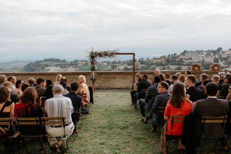 Outdoor wedding ceremony in Italy