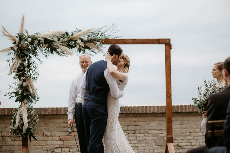 Wedding arch with pampas grass and foliage