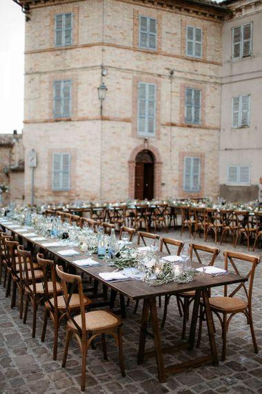 Wedding breakfast in town square at Italian wedding