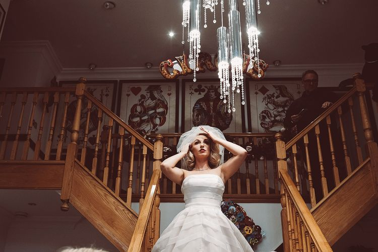 Bride in Organza Justin Alexander Gown | Blush Pink & Red, Christmas, Winter Wedding at Coltsfoot Country Retreat | Lemonade Pictures