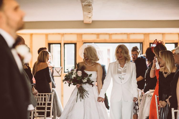Wedding Ceremony | Bridal Entrance in Organza Justin Alexander Gown | Mother of the Bride in White Suit | Blush Pink & Red, Christmas, Winter Wedding at Coltsfoot Country Retreat | Lemonade Pictures