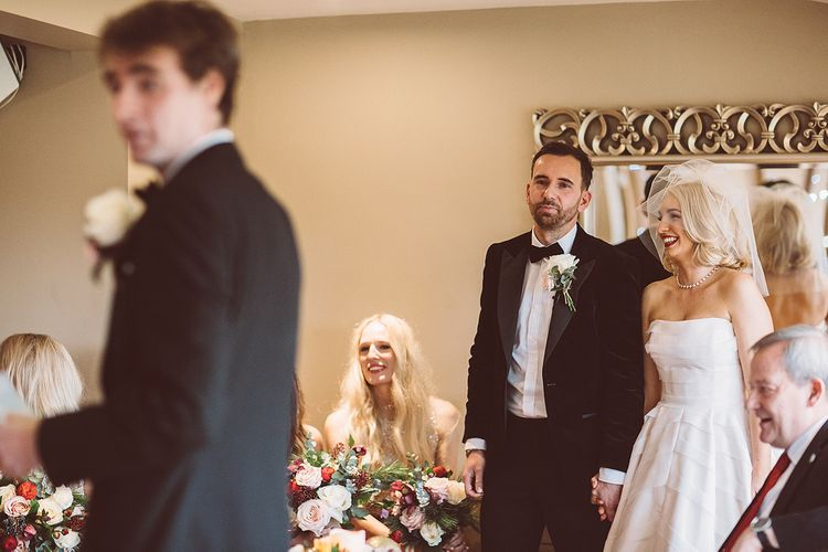 Wedding Ceremony | Bride in Organza Justin Alexander Gown | Groom in Black Tie Suit | Blush Pink & Red, Christmas, Winter Wedding at Coltsfoot Country Retreat | Lemonade Pictures