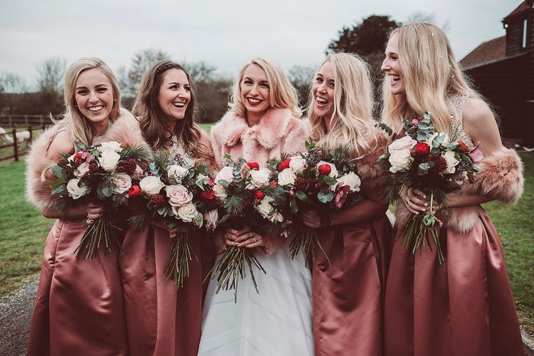 Bridal Party | Bride in Organza Justin Alexander Gown & Faux Fur Cover Up | Bridesmaids in Closet London Separates | Blush Pink & Red, Christmas, Winter Wedding at Coltsfoot Country Retreat | Lemonade Pictures