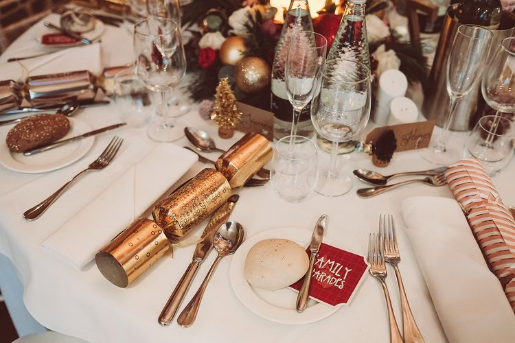 Christmas Cracker Wedding Favours | Blush Pink & Red, Christmas, Winter Wedding at Coltsfoot Country Retreat | Lemonade Pictures