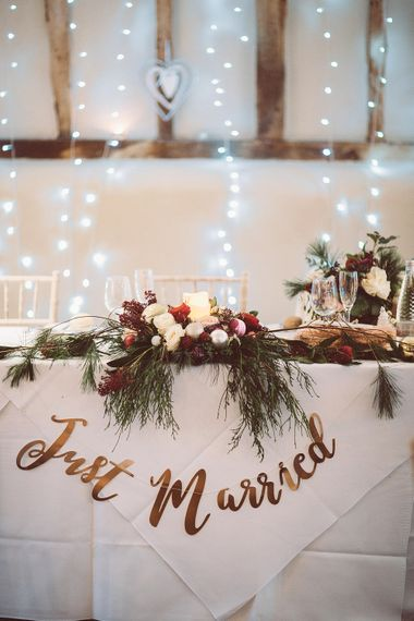 Top Table Wedding Decor | Blush Pink & Red, Christmas, Winter Wedding at Coltsfoot Country Retreat | Lemonade Pictures