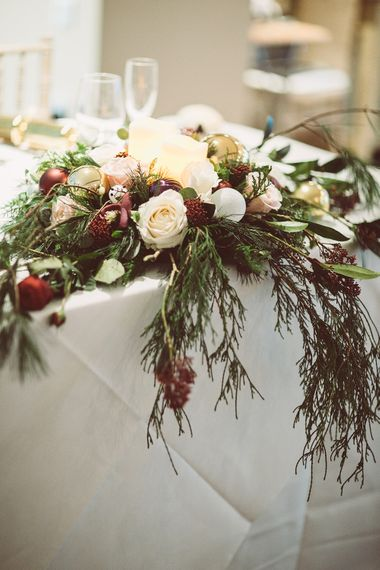 Top Table Floral Centrepiece | Blush Pink & Red, Christmas, Winter Wedding at Coltsfoot Country Retreat | Lemonade Pictures