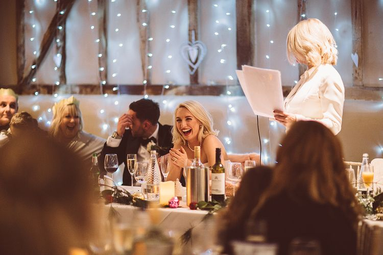 Wedding Reception Speeches | Blush Pink & Red, Christmas, Winter Wedding at Coltsfoot Country Retreat | Lemonade Pictures