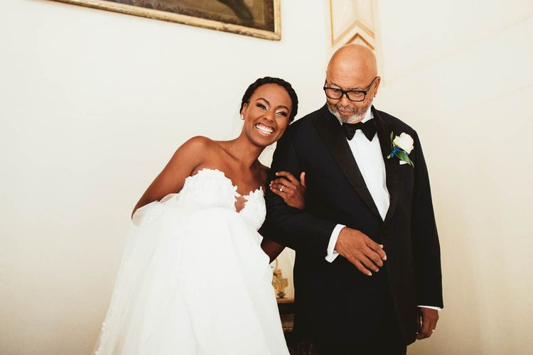 Father of the bride and daughter in Pronovias wedding dress