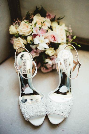 Badgley Mischka embellished bridal shoes for destination wedding with pink bridesmaid dresses