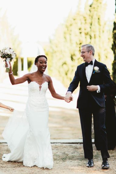 Happy bride and groom just married at Chateau La Durantie, France