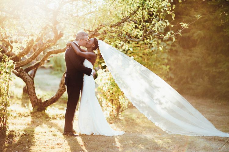 Intimate bride and groom portrait at sunset by Maryanne Weddings