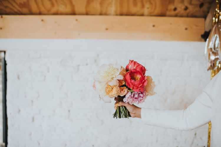 Colourful Bridal Bouquet of Pink and White Peonies | 'Frida Kahlo' Flower Crown, Halfpenny London Bridal Separates and Colourful Bouquets with Peonies for Suffolk Wedding | From The Smiths Photography