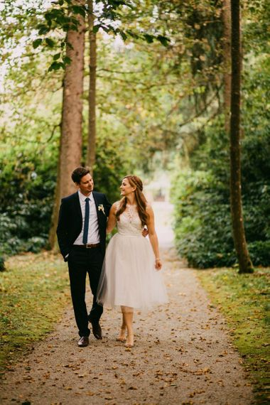 ASOS mid length wedding dress with tulle skirt and laced bodice
