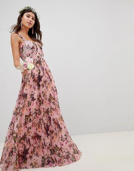 Pink Floral Print Maxi Dress For Bridesmaids From ASOS