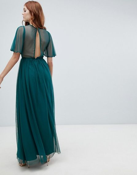 Green Sequinned Maxi Dress For Bridesmaids From ASOS