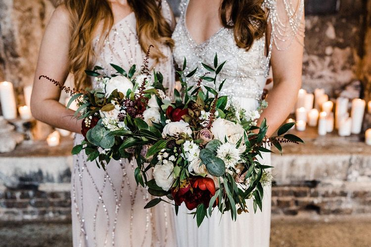 Wedding Bouquet For Bride And Bridesmaid In Blush Dress and Anna Campbell Wedding Dress
