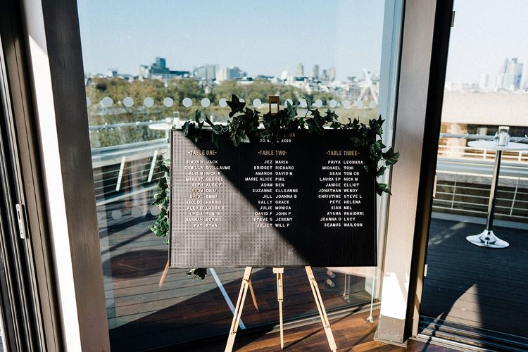Table Seating Plan For London Wedding