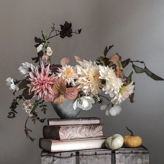 Fig and Fern Muted Pastel Autumnal Floral Display