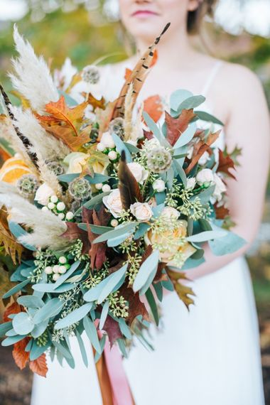 Flowers by Suzanne Autumn Wedding Flowers with Pampas Grass and Feathers Image by Nikkis Moments Photograohy